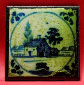 Delft tile from Weir's dining room fireplace